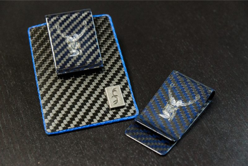 Atlas Suspension FIT Wallet with Blue Kevlar Carbon Fiber Money Clip Custom Engraved