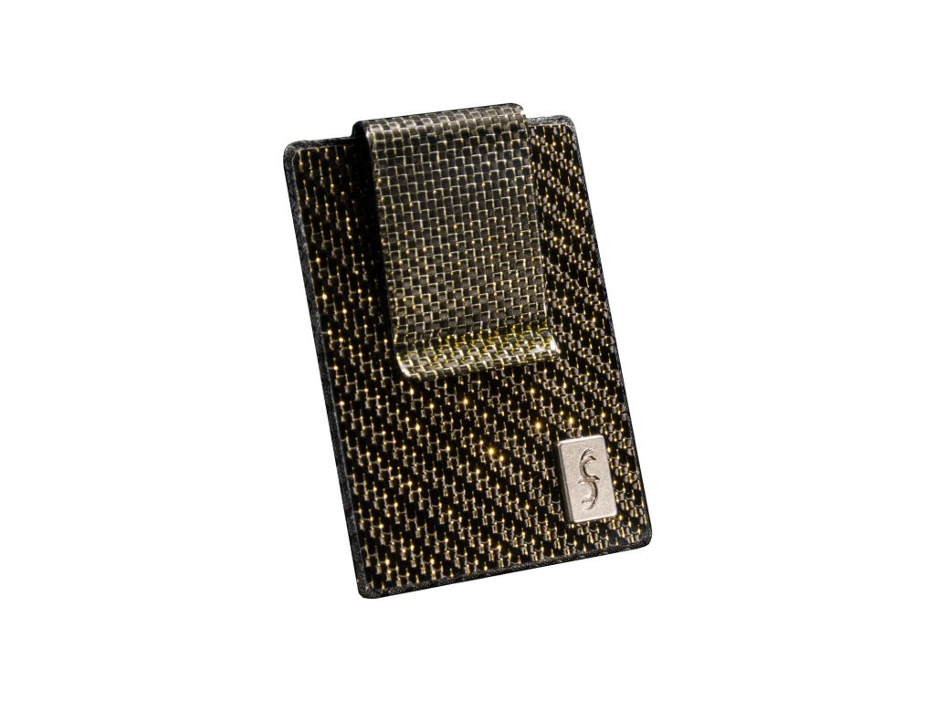 Gold Carbon Fiber Money clip Wallet