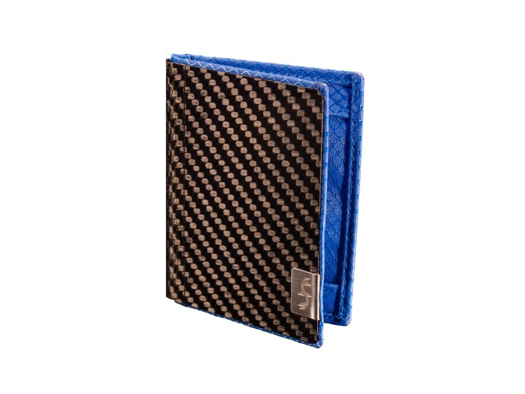 Slim Blue Carbon Fiber Minimalist Wallet