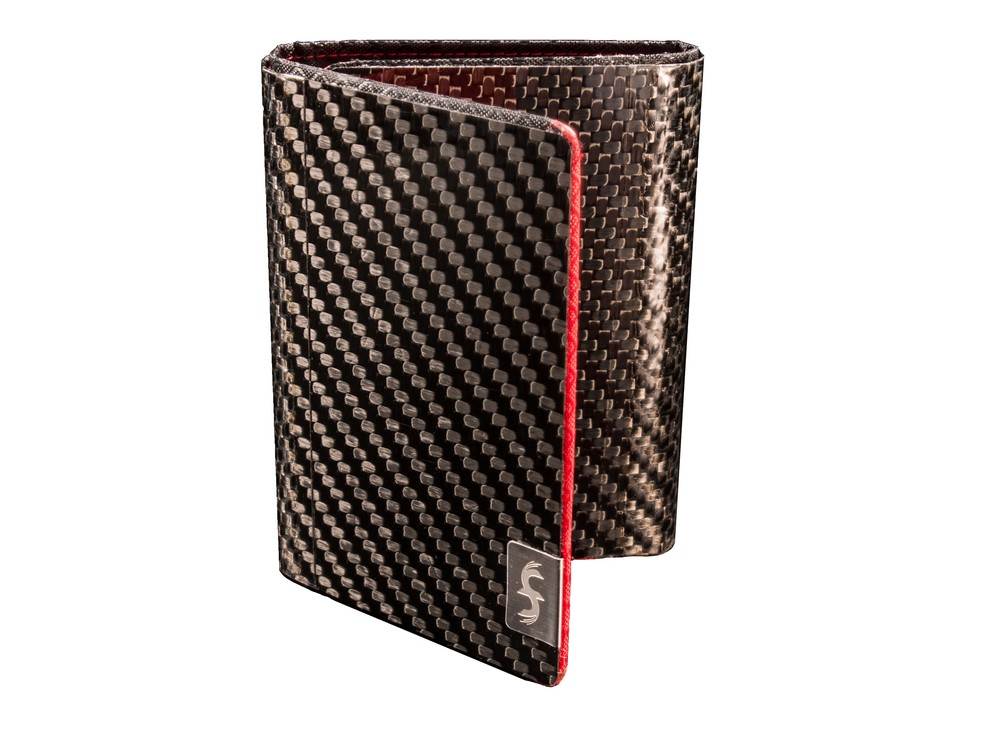 Red Tri Fold Carbon Fiber Wallet