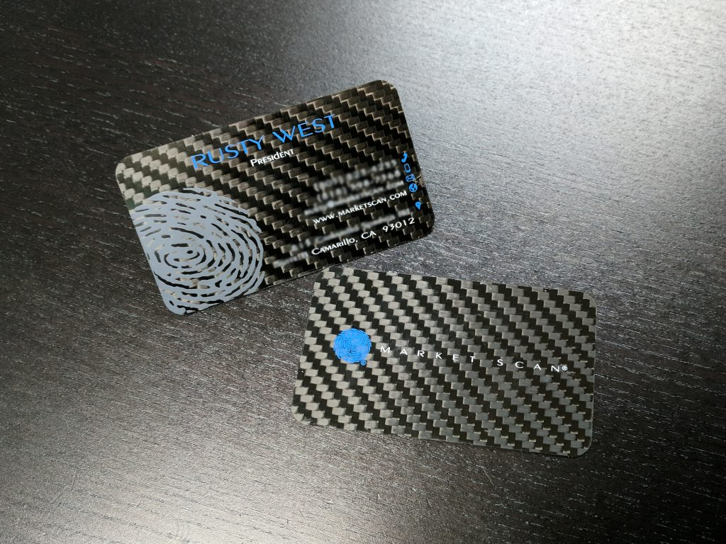 Market scan business cards common fibers custom carbon fiber screen printed market scan business cards blurred magicingreecefo Gallery