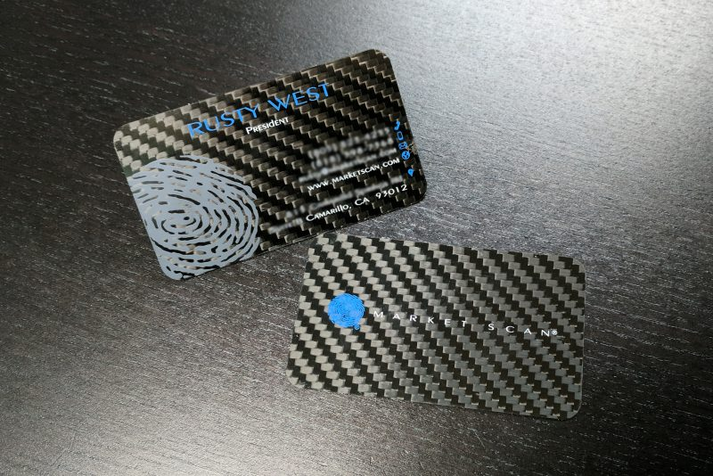Custom Carbon Fiber Screen Printed Market Scan Business Cards - Blurred